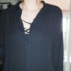 Black lace up front work blouse shirt